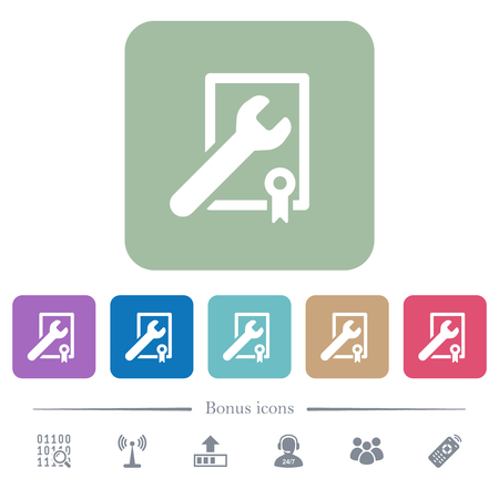 Award winning services white flat icons on color rounded square backgrounds. 6 bonus icons included