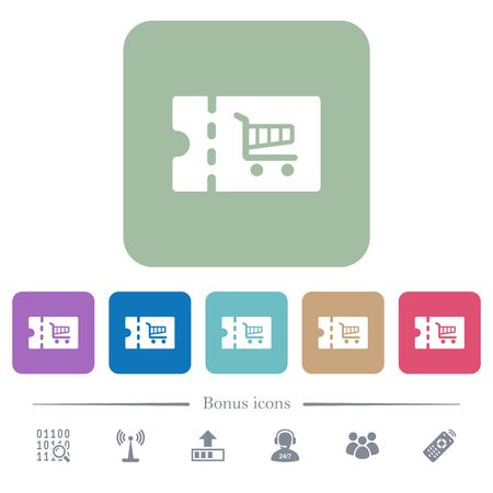 Cart discount coupon white flat icons on color rounded square backgrounds. 6 bonus icons included