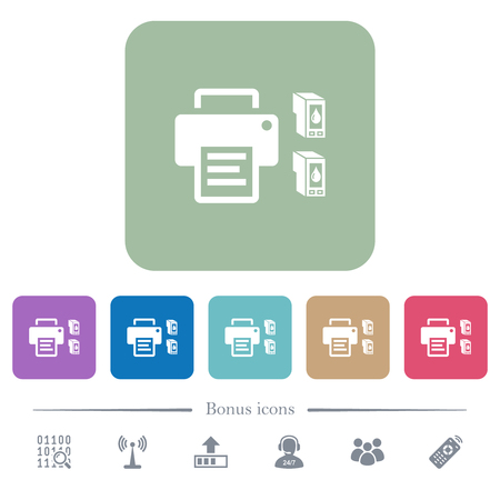 Printer and ink cartridges white flat icons on color rounded square backgrounds. 6 bonus icons included