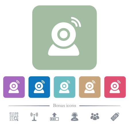 Wireless camera white flat icons on color rounded square backgrounds. 6 bonus icons included