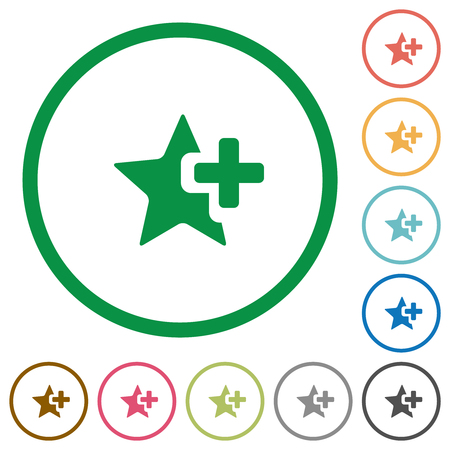 Add star flat color icons in round outlines on white background