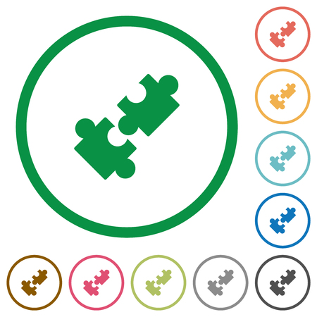 Cooperation flat color icons in round outlines on white background