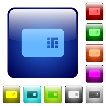 Chip card icons in rounded square color glossy button set