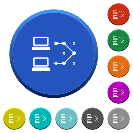 Traceroute remote computer round color beveled buttons with smooth surfaces and flat white icons