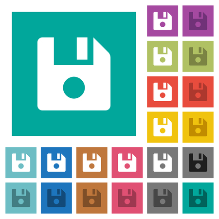 File record multi colored flat icons on plain square backgrounds. Included white and darker icon variations for hover or active effects. Çizim
