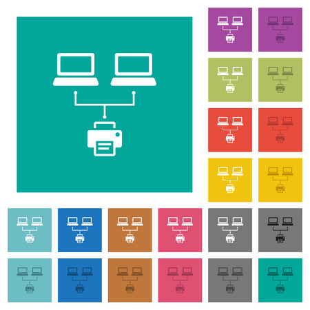Network printing multi colored flat icons on plain square backgrounds. Included white and darker icon variations for hover or active effects. Illustration
