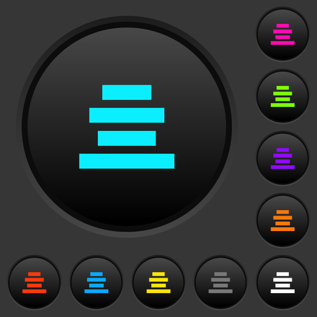 Text align center dark push buttons with vivid color icons on dark grey background