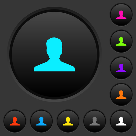 Anonymous avatar dark push buttons with vivid color icons on dark grey background Çizim