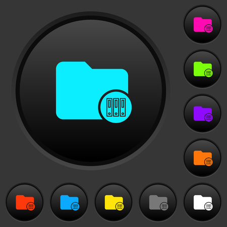 Archive directory dark push buttons with vivid color icons on dark grey background Vecteurs