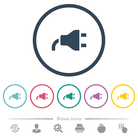 Power plug flat color icons in round outlines. 6 bonus icons included.