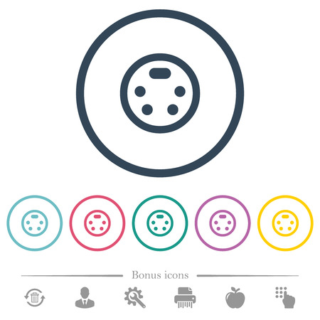 S-video connector flat color icons in round outlines. 6 bonus icons included.