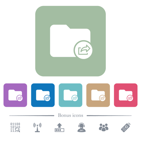 Export directory white flat icons on color rounded square backgrounds. 6 bonus icons included