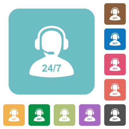24 hours operator service white flat icons on color rounded square backgrounds  イラスト・ベクター素材