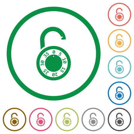 Unlocked round combination lock flat color icons in round outlines on white background
