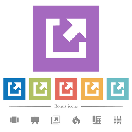 External link flat white icons in square backgrounds. 6 bonus icons included.