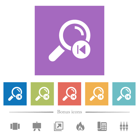 find previous search result flat white icons in square backgrounds. 6 bonus icons included. Ilustrace