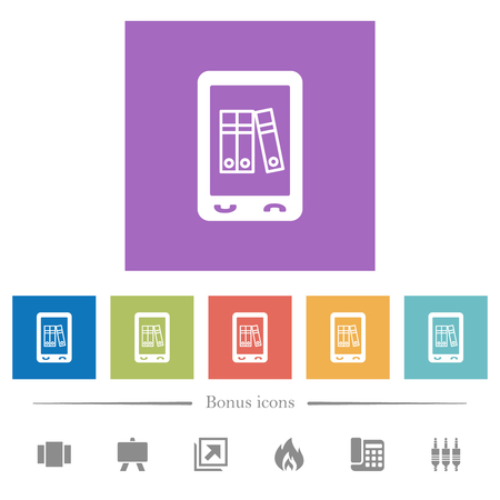 Mobile office flat white icons in square backgrounds. 6 bonus icons included.