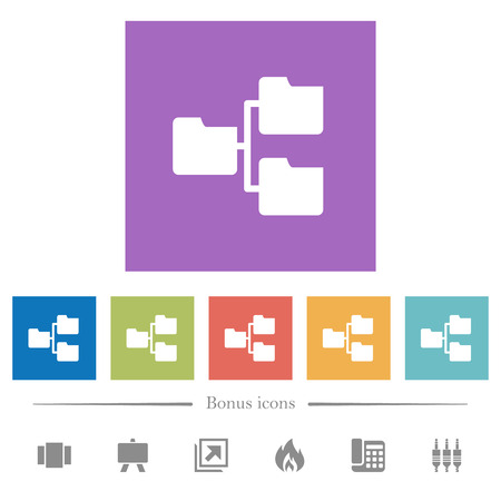 Shared folders flat white icons in square backgrounds. 6 bonus icons included.
