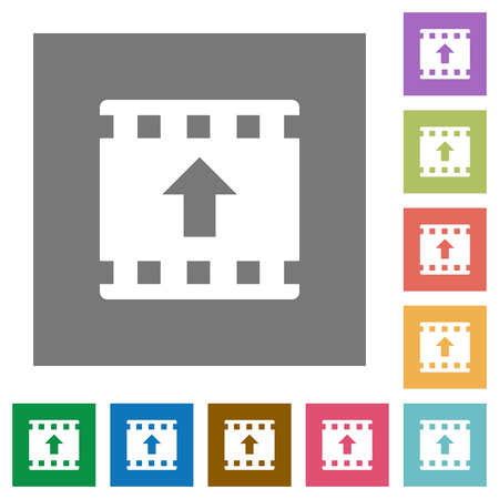 Move up movie flat icons on simple color square backgrounds