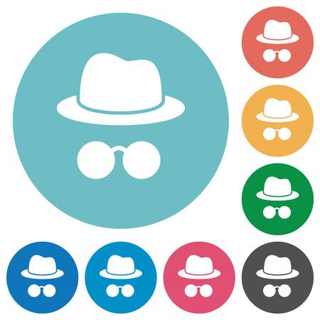 Incognito with glasses flat white icons on round color backgrounds Çizim