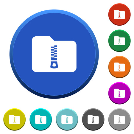 Compressed folder round color beveled buttons with smooth surfaces and flat white icons Ilustrace