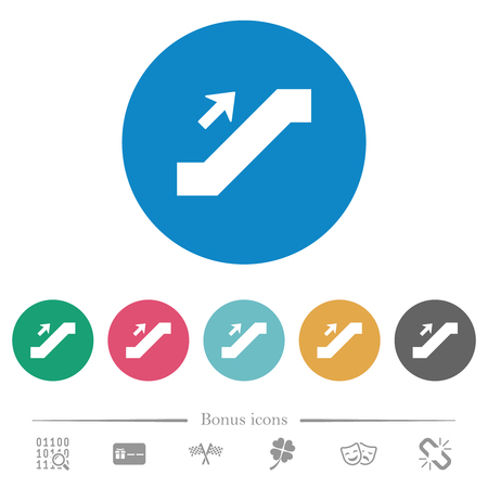 Escalator up sign flat white icons on round color backgrounds. 6 bonus icons included.