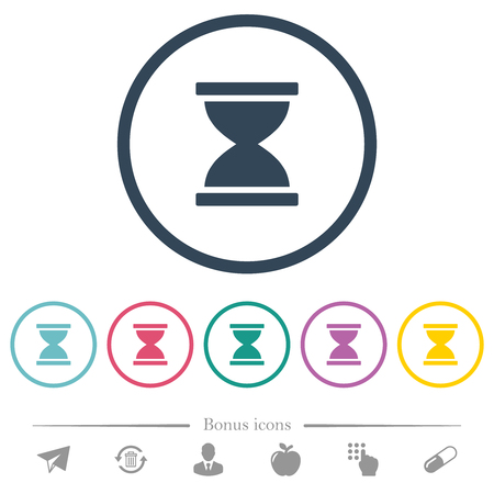 Hourglass flat color icons in round outlines. 6 bonus icons included.
