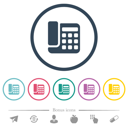 Office phone flat color icons in round outlines. 6 bonus icons included.