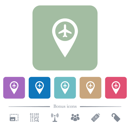 Airport GPS map location white flat icons on color rounded square backgrounds. 6 bonus icons included