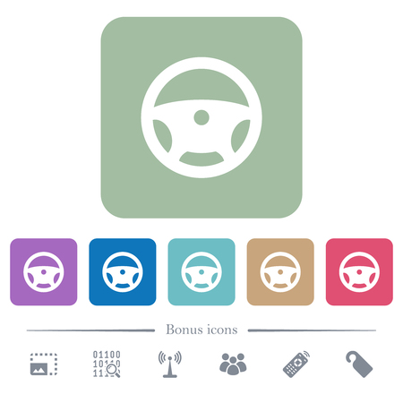 Steering wheel white flat icons on color rounded square backgrounds. 6 bonus icons included