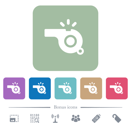 Whistle white flat icons on color rounded square backgrounds. 6 bonus icons included