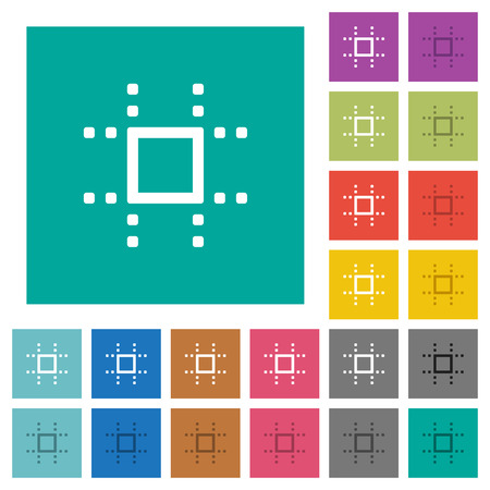 Snap to grid multi colored flat icons on plain square backgrounds. Included white and darker icon variations for hover or active effects.