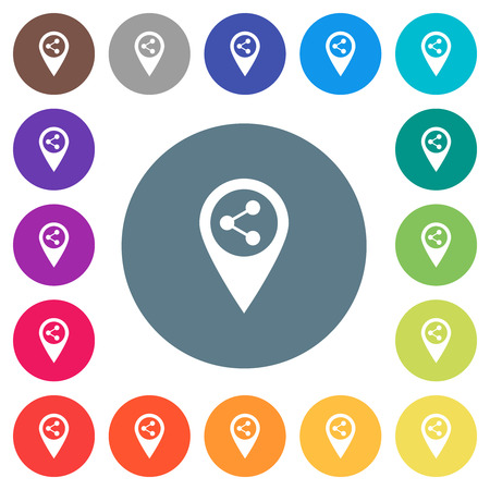 Share GPS map location flat white icons on round color backgrounds. 17 background color variations are included.