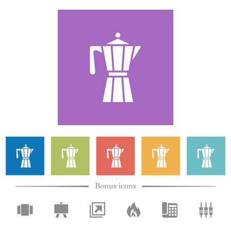Coffee maker flat white icons in square backgrounds. 6 bonus icons included.