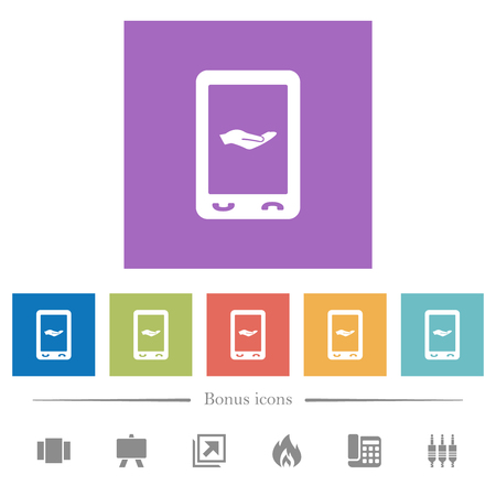 Mobile services flat white icons in square backgrounds. 6 bonus icons included.