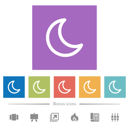 Moon shape flat white icons in square backgrounds. 6 bonus icons included.