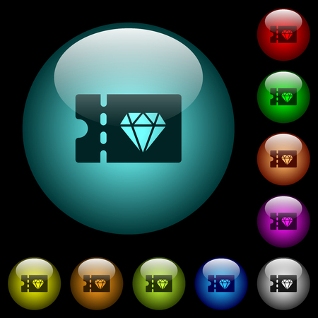 Jewelry store discount coupon icons in color illuminated spherical glass buttons on black background. Can be used to black or dark templates  イラスト・ベクター素材