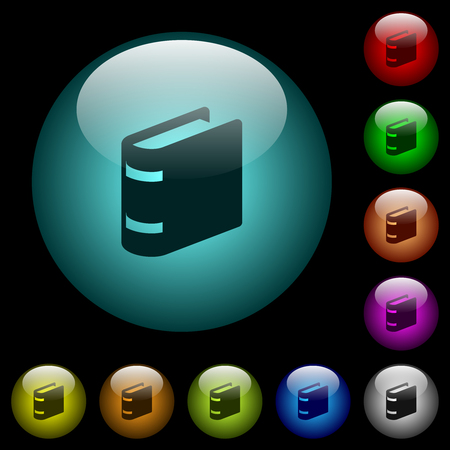 Single book icons in color illuminated spherical glass buttons on black background. Can be used to black or dark templates