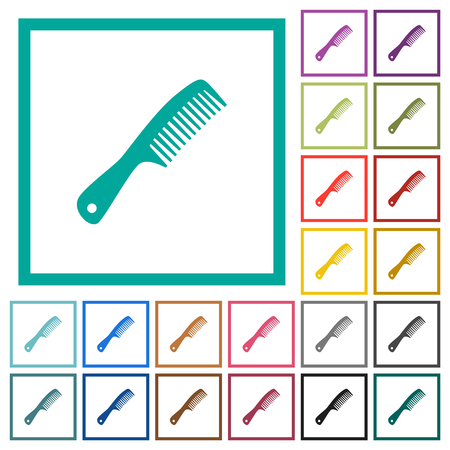 Comb with handle flat color icons with quadrant frames on white background
