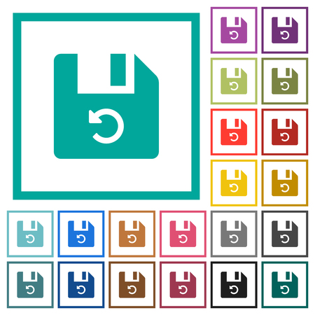 Undo last file operation flat color icons with quadrant frames on white background 向量圖像