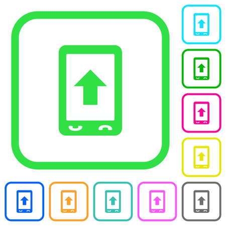 Mobile scroll up vivid colored flat icons in curved borders on white background