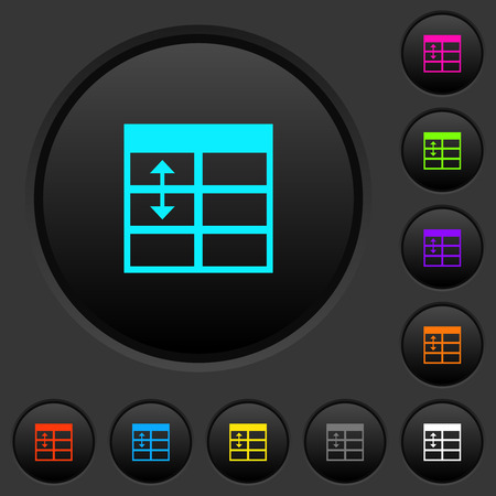 Spreadsheet adjust table row height dark push buttons with vivid color icons on dark grey background