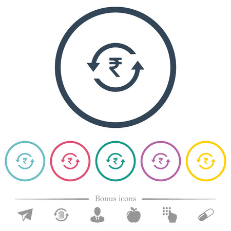 Rupee pay back flat color icons in round outlines. 6 bonus icons included. Ilustração