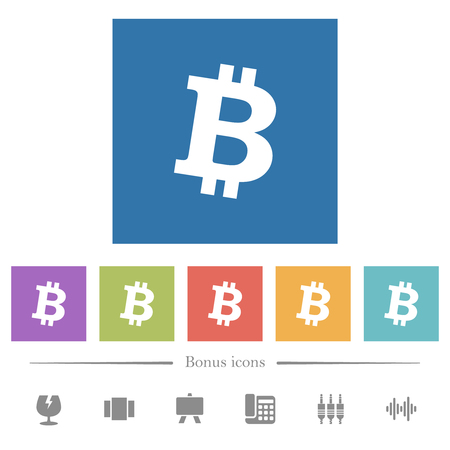 Bitcoin digital cryptocurrency flat white icons in square backgrounds. 6 bonus icons included.