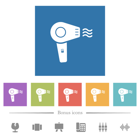 Hairdryer flat white icons in square backgrounds. 6 bonus icons included. 向量圖像