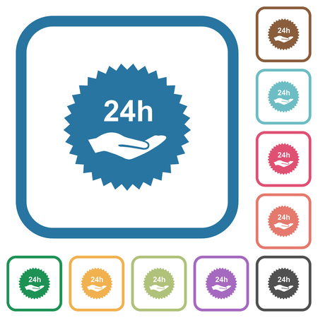 24h service sticker simple icons in color rounded square frames on white background