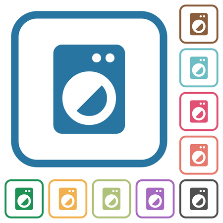 Washing machine simple icons in color rounded square frames on white background