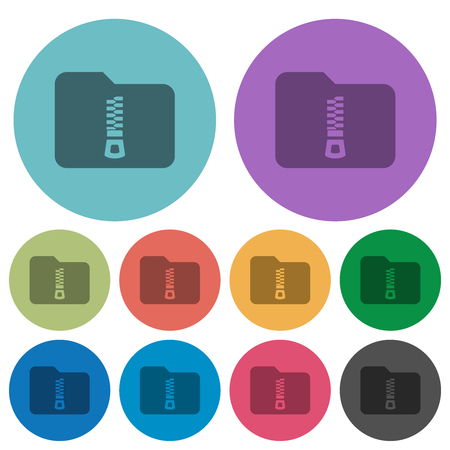 Compressed folder darker flat icons on color round background