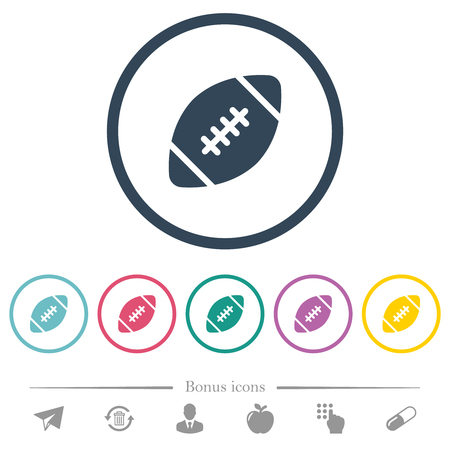 Rugby ball flat color icons in round outlines. 6 bonus icons included.