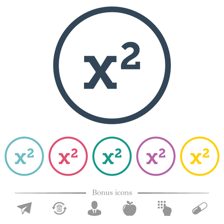 Math exponentiation flat color icons in round outlines. 6 bonus icons included. Illustration